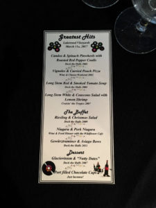 Greatest Hits Dinner Menu